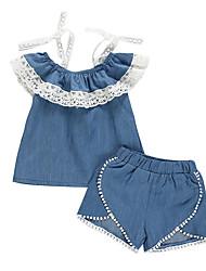 levne -Dítě Dívčí Základní Jednobarevné Krajka Bez rukávů Standardní Bavlna Sady oblečení Vodní modrá