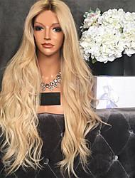 billiga -Äkta peruker med hätta Kinky Rakt Stil Middle Part Utan lock Peruk Mörkbrun Blekt Blont Syntetiskt hår 26 tum Dam Dam Mörkbrun Peruk Lång Naturlig peruk
