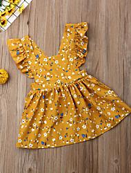 levne -Dítě Dívčí Aktivní Květinový Nabírané šaty Bez rukávů Nad kolena Bavlna Šaty Žlutá