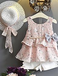 levne -Děti / Toddler Dívčí Aktivní / Cikánský Jednobarevné / Puntíky Mašle / Volány Bez rukávů Standardní Standardní Bavlna / Spandex Sady oblečení Světlá růžová