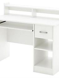 Недорогие -современный компьютерный стол с подставкой для клавиатуры в белой отделке