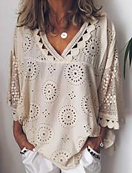 Недорогие -Жен. Кружева Большие размеры - Рубашка V-образный вырез Свободный силуэт Однотонный Белый