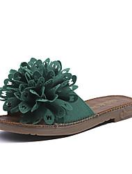 ราคาถูก -สำหรับผู้หญิง PU ฤดูร้อน รองเท้าแตะและรองเท้าแตะ ส้นแบน สีดำ / ผ้าขนสัตว์สีธรรมชาติ / สีเขียว
