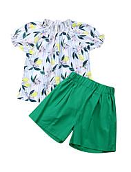abordables -bébé Fille Actif / Basique Fleur / Fruit Imprimé Manches Courtes Normal Coton Ensemble de Vêtements Blanc