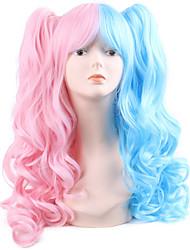 halpa -Synteettiset peruukit Kihara Tyyli Keskiosa Suojuksettomat Peruukki Vaaleanpunainen Taivaan sininen Pinkki / Purppura Pink + Punainen Synteettiset hiukset 20 inch Naisten Muodikas malli / Party