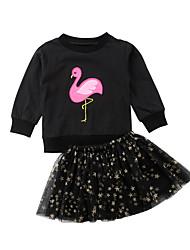 abordables -Enfants / Bébé Fille Actif / Basique Bande dessinée Maille / Imprimé Manches Longues Coton Ensemble de Vêtements Noir