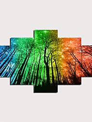 Недорогие -С картинкой Отпечатки на холсте - Пейзаж Традиционный Modern 5 панелей Репродукции