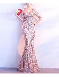 levne -Mořská panna Hluboký výstřih Dlouhá vlečka Flitry Šaty s Flitry podle LAN TING Express