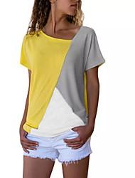 abordables -Tee-shirt Femme, Bloc de Couleur Noir XXXL