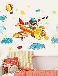 Недорогие -Милая детская комната мальчик спальня украшения мультфильм самолет стикер стены детский сад классная стена самоклеящаяся живопись