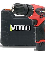 Недорогие -voto аккумуляторная ручная дрель 12v двухскоростной пластиковый ящик бытовой литиевая дрель многофункциональный винтовой дрель пистолет дрель два электрический один заряд