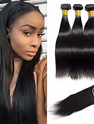 abordables -3 paquets avec fermeture Cheveux Brésiliens Droit Cheveux Vierges Naturel Tissages de cheveux humains Bundle cheveux One Pack Solution 8-20 pouce Couleur naturelle Tissages de cheveux humains Sans