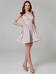 Χαμηλού Κόστους -Γραμμή Α Λαιμόκοψη V Κοντό / Μίνι Με πούλιες Φανταχτερό Επίσημο Βραδινό Φόρεμα με Πούλιες με TS Couture®