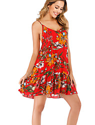 cheap -Women's Boho Elegant Sheath Dress - Geometric Red M L XL