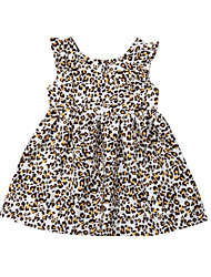 cheap -Toddler Girls' Active / Punk & Gothic Leopard Sleeveless Above Knee Cotton Dress Brown