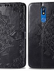tanie -Kılıf Na LG LG K40 Etui na karty / Flip Pełne etui Solidne kolory Twardość Skóra PU na LG K40