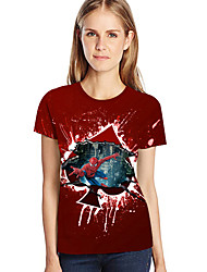 abordables -Tee-shirt Femme, 3D / Graphique / Bande dessinée Imprimé Vin XXXL