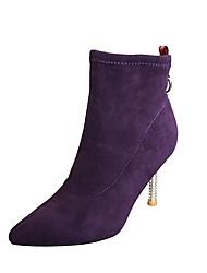 ราคาถูก -สำหรับผู้หญิง หนังนิ่ม ฤดูใบไม้ร่วง & ฤดูหนาว ไม่เป็นทางการ บูท ส้น Stiletto Pointed Toe รองเท้าบู้ทหุ้มข้อ สีดำ / สีม่วง