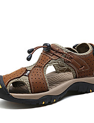 cheap -Men's Comfort Shoes Nappa Leather Summer Sandals Breathable Yellow / Blue / Khaki