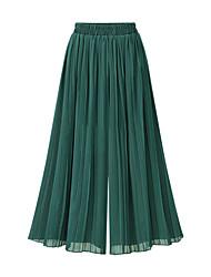 preiswerte -Damen Anspruchsvoll Breites Bein Hose - Solide Schwarz, Gefaltet / Chiffon Hohe Taillenlinie Schwarz Beige Marineblau Einheitsgröße