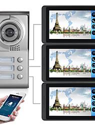 Недорогие -618mc13 7-дюймовый емкостный сенсорный экран видеокамеры проводной видео дверной звонок Wi-Fi / 3 г / 4 г удаленного вызова разблокировки хранения визуальный домофон с тремя спальнями