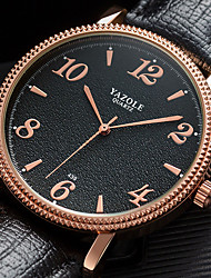 preiswerte -Herrn Uhr Kleideruhr Quartz Formaler Stil Leder Schwarz / Braun Armbanduhren für den Alltag Analog Luxus Modisch Schwarz / Braun Schwarz / weiss Weiß / Braun / Ein Jahr