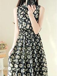abordables -Mujer Básico Línea A Vestido - Espalda al Aire, Floral Maxi