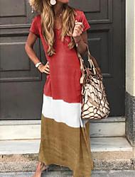 abordables -Mujer Túnica Vestido Bloques Maxi