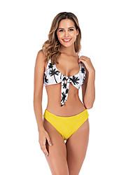 halpa -Naisten Perus Keltainen Armeijan vihreä Bandeau Korkea vyötärö Bikini Uima-asut - Kukka S M L Keltainen