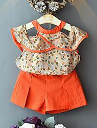 Недорогие -Дети Девочки Активный Уличный стиль С принтом Пэчворк Пэчворк С принтом Без рукавов Обычный Набор одежды Оранжевый