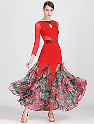 저렴한 -볼륨 댄스 드레스 여성용 트레이닝 / 성능 튤 / 아이스 실크 패턴 / 프린트 / 스플리트 조인트 긴 소매 높음 드레스 / 벨트