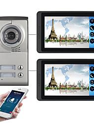 Недорогие -618mc12 7-дюймовый емкостный сенсорный экран видеокамеры проводной видео дверной звонок WiFi / 3G / 4G удаленного вызова разблокировки хранения визуальный домофон с двумя спальнями