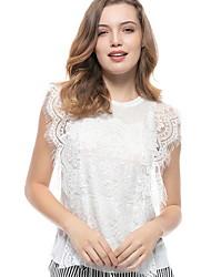 preiswerte -Damen Solide - Grundlegend T-shirt Patchwork Weiß US6