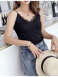 Χαμηλού Κόστους -Γυναικεία Αμάνικη Μπλούζα Κομψό στυλ street / Κομψό Μονόχρωμο Δαντέλα / Με κοψίματα Λευκό US0