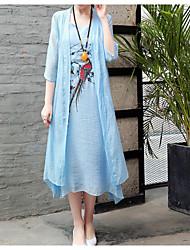 abordables -Mujer Chic de Calle Corte Swing Vestido - Volante, Floral Asimétrico
