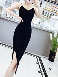 abordables -Mujer Sofisticado Elegante Gasa Camisa Vestido - Acordonado, Un Color Sobre la rodilla