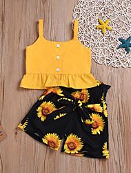 Недорогие -малыш Девочки Активный / Классический Цветочный принт С принтом Без рукавов Короткий Набор одежды Желтый