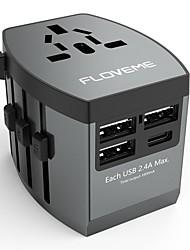 Недорогие -floveme быстрая быстрая зарядка 4 порта usb все в одном сетевом адаптере поддержка по всему миру адаптер телефона / стола и других устройств (серый)