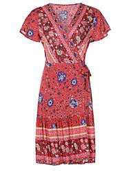 Χαμηλού Κόστους -γυναικείο φόρεμα με γόνατο στο στήθος v λαιμός κόκκινο μπλε μπλε ναυτικό s m l xl