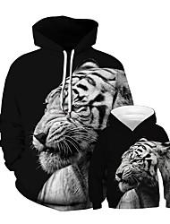 Недорогие -Папа и я Панк & Готика Животное Пэчворк Длинный рукав Обычный Обычная Худи / толстовка Черный