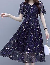Недорогие -Жен. Изысканный Элегантный стиль А-силуэт Платье - Цветочный принт, С принтом Выше колена