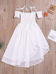 abordables -Enfants Fille Actif Blanc Couleur Pleine Multirang Sans Manches Midi Coton Robe Blanc
