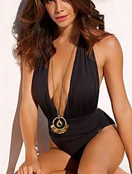abordables -Mujer Negro Una Pieza Bañadores - Un Color M L XL Negro