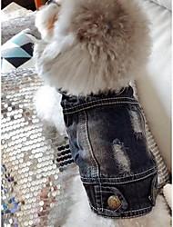 Недорогие -Собака Джинсовые куртки Одежда для собак Джинсы Синий Джинса Костюм Назначение Весна & осень Зима Муж. Жен. ковбой Мода