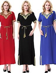 Χαμηλού Κόστους -Παραδοσιακή & Πολιτιστική Φορά Αμπάγια Γυναικεία Καθημερινά Ρούχα Πολυεστέρας Διαφορετικά Υφάσματα Κοντομάνικο Φόρεμα