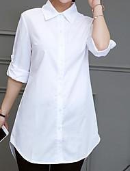 baratos -Mulheres Camisa Social Sólido Azul US12