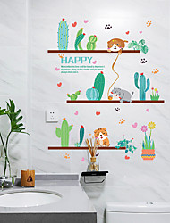 cheap -Green Potted Plants Cute Kitty Wall Stickers - Words &amp Quotes Wall Stickers Characters Study Room / Office / Dining Room / Kitchen