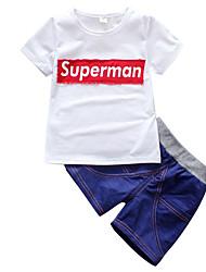 Недорогие -малыш Мальчики Уличный стиль С принтом С короткими рукавами Обычный Набор одежды Белый
