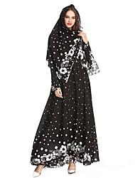 저렴한 -전통 및 문화 착용 아바야 여성용 파티 / 일상복 폴리에스테르 패턴 / 프린트 내츄럴 아바야
