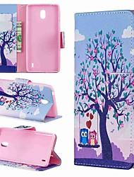 Недорогие -Кейс для Назначение Nokia Nokia 8 / Nokia 7.1 / Nokia 5.1 Кошелек / Бумажник для карт / Защита от удара Чехол Животное / Мультипликация / дерево Твердый Кожа PU